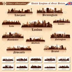 This is a set of 10 cities of the United Kingdom of Great Britain in the vector. Each city is made in three colors in shades of br