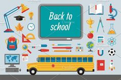 Back to School - Flat Icons Set by serkorkin on @creativemarket