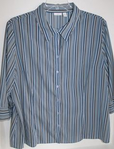 Apt 9 2XL blue gray striped 3/4 Sleeve Blouse Top Button up xxl Woman Stretch #Apt9 #Blouse #Casual