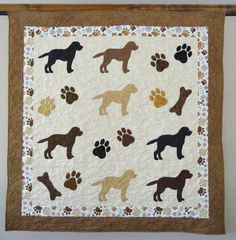 Labrador Retrievers quilt throw size  -  52 x 54 inches- etsy. I love this!