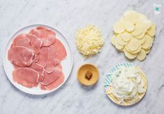 Bacon, Onion and Potato Bake - Pinch Of Nom Tips to reduce the time you spend. Bacon, Onion and Po Slow Cooker Slimming World, Slimming World Recipes Syn Free, Baked Potato Recipes, Bacon Potato, Potato Pie, Chicken Recipes, Slimmers World Recipes, Baking Recipes, Snack Recipes