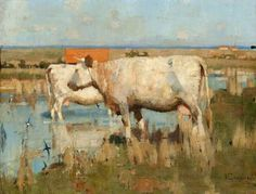 Landscape with Cattle by Joseph E Crawhall