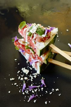 Grilled Watermelon Pizza Pops with Cacique Crema Mexicana and Cotija Cheese