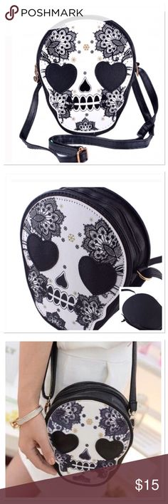 """Sugar Skull Mini Bag Fun sugar skull mini Handbag, zipper closure, shoulder strap drop adjustable 10-20"""", purse 6"""" W x 8"""" L Boutique Accessories Bags"""