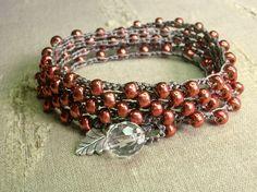 Metallic crochet wrap bracelets with fine silver charms,