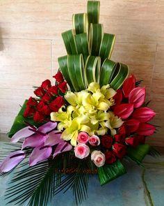 Pin on Floral arrangements Altar Flowers, Church Flowers, Funeral Flowers, Tropical Floral Arrangements, Large Flower Arrangements, Exotic Flowers, Tropical Flowers, Beautiful Flowers, Flower Shop Decor
