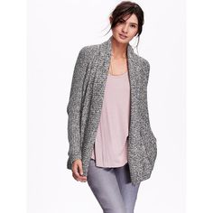 Charlotte Russe Taupe Lightweight Marled Cascade Cardigan by ...