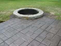 stamped concrete patio with fire pit | ... contractors michigan ... - Concrete Patio Designs With Fire Pit