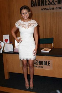 Lauren Conrad in white lace dress by Marchesa