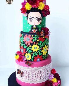 """3,993 curtidas, 98 comentários - @ideiasdebolosefestas (@ideiasdebolosefestas) no Instagram: """"Lindoooo bolo Frida. Amoo essa mulher. Por @cupcakeartgdl. #ideiasdebolosefestas #inspiration…"""""""