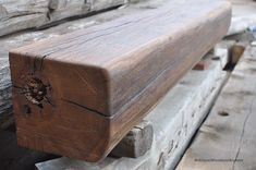 Barn Beam Mantel - Simple, Red Oak with Curved Edges - Antique Woodworks Rustic Fireplace Mantels, Mantle, Red Oak, Log Cabins, Remodeling Ideas, Beams, Woodworking, Antiques, Simple
