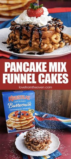 Make the fair favorite, Funnel Cakes, at home easily with pancake mix! Donut Recipes, Oven Recipes, Best Dessert Recipes, Fun Desserts, Sweet Recipes, Delicious Desserts, Yummy Food, Cake Recipes, Chocolate Spoons