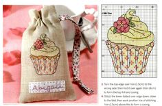 cupcake with flower on linen bag Cupcake Cross Stitch, Cross Stitch Love, Cross Stitch Needles, Cross Stitch Cards, Cross Stitch Alphabet, Cross Stitch Kits, Cross Stitch Designs, Cross Stitching, Cross Stitch Embroidery