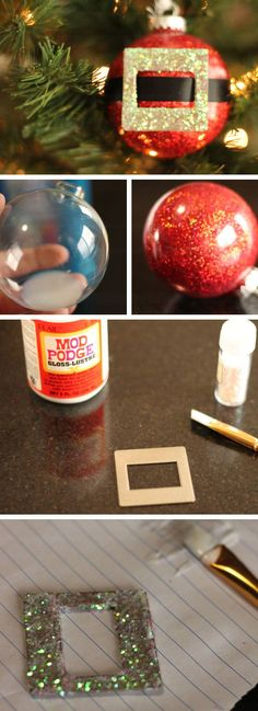 Glitter Santa Claus Christmas Ornament Craft | Click Pic for 22 DIY Christmas Decor Ideas on a Budget | Last Minute Christmas Decorating Ideas for the Home