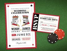 Vegas Wedding Suite  Save the Date Invitation Custom by LINandTOM