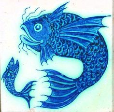A William De Morgan tile painted in blue with a - by Woolley & Wallis