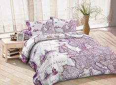 Purple duvet cover ancient europe map bedding sets custom made bed sheets queen/full/twin bedroom set for all sizes