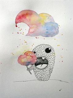 Ann-Kathrin Nikolov: Candy Cloud. Aquarellfarbe und Tusche auf Aquarellpapier #Aquarell #Malerei #startyourart #annkathrinnikolov www.startyourart.de