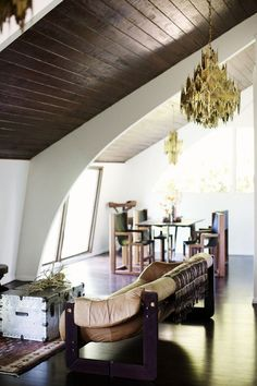 Viyet Style Inspiration | Living Room | eclectic, retro, wood ceiling