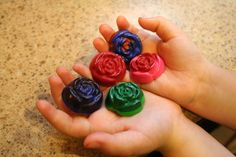 melt crayons, and put them in candy molds to create multi-colored different shaped crayons.