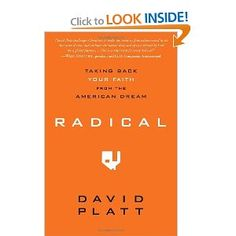 Radical: Taking Back Your Faith from the American Dream -- lots of thought-provoking stuff in this book -- especially when it comes to stepping outside one's comfort zone and following a path that isn't necessarily safe, comfortable, or easy. I'd definitely recommend reading it, but make sure you act upon what you read out of obedience to God's calling in your *own* life, not guilt over something God has called someone else to that you think you should be doing, too.