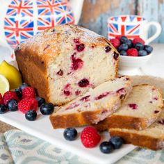 Loaf cakes are fantastic when you want to concentrate on the flavour.  This one is made with yogurt and flavoured with berries and lemon zest.
