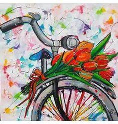Vrolijk Schilderij Fiets met bosje tulpen