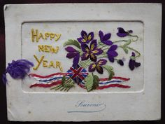 Ww1 #embroidered silk postcard. #happy new year. ( patriotic #flowers ) greating,  View more on the LINK: http://www.zeppy.io/product/gb/2/252626890519/