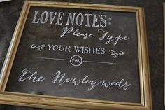 Love Notes for wedding typewriter notes