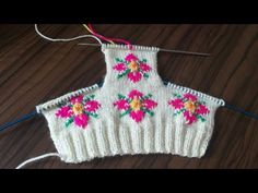 Desenli iki şiş patik modeli yapılışı 1.bölüm - YouTube Crochet Flower Tutorial, Crochet Flowers, Fair Isle Knitting, Crochet Top, Apron, Christmas Ornaments, Holiday Decor, Youtube, Women