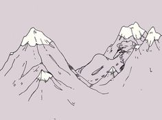 I thought I wouldn't make another one. But it just came to me. I made sure the colour of this one would go well with the other two! I think I like this one the most because the figure is more masculine and it's morphing together with the mountains more, compared to the other two.Pen, colours added in SAI