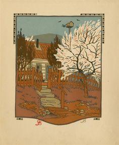 """Gustave Baumann (German/American, 1881 - 1971). """"April"""". Original color woodcut. 1912."""