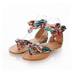 Leeminus Women Print Silk Lace Ankle Ribbon Wrap Flip Flop Flat SandalsBlue 7 DM US >>> Check this awesome product by going to the link at the image.