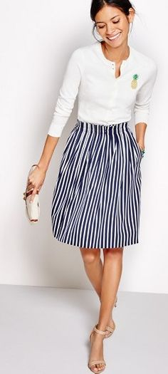 This skirt summer fashion outfits, j crew outfits summer, work fashion, spring fashion Summer Work Outfits, Casual Work Outfits, Office Outfits, Work Attire, Work Casual, Spring Outfits, Casual Dresses, Preppy Casual, Preppy Business Casual