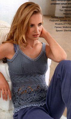 crochet always comes great in a mix Лиф спицами. На топ есть схема с описанием
