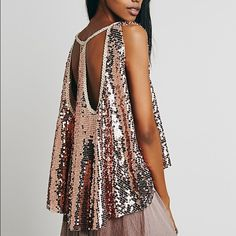 free people rose sequin top FP rose sequin top super cute for New Years!! Perfect condition with no damage. Rarely worn. No trades! Free People Tops