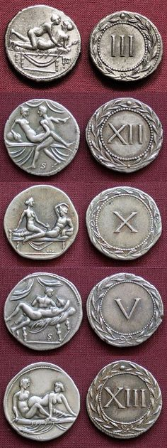 Ancient entrance tokens for Roman brothels.