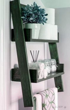 Woodworking Projects Unique Wow! This is the perfect twist to the floating shelf and the ladder shelf! DIY floating ladder shelf with a towel bar!.Woodworking Projects Unique  Wow! This is the perfect twist to the floating shelf and the ladder shelf! DIY floating ladder shelf with a towel bar! Floating Bookshelves, Floating Shelves Bathroom, Bathroom Storage, Bathroom Ideas, Bathroom Organization, Bathroom Small, Bathroom Vintage, Toilet Storage, Design Bathroom