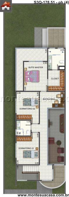 Planta de Sobrado - 3 Quartos - 178.51m² - Monte Sua Casa Building Plans, Building A House, Future House, My House, Narrow House, Master Closet, House Floor Plans, Interior Design Living Room, Home Projects