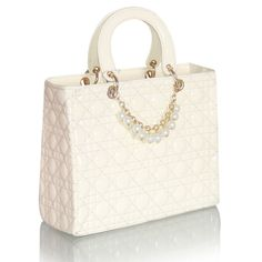 Classic Women's Pearl & Chain embellished Patent Leather Satchel Handbag.  Beige.