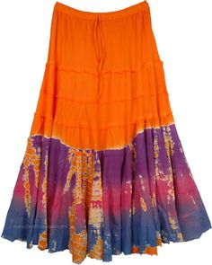 Tangy Orange Hippie Skirt with Tiers in Plus Size TLB - 100% Cotton Orange Clothing (XL-Plus, Tiered-Skirt, Maxi Skirt, Tie-Dye) A plus size fresh style ankle length skirt with tiers for a hippie look in a tangy orange color that catches everyone's attention on the street Hippie Skirts, Bohemian Skirt, Gypsy Skirt, Boho Skirts, Gypsy Look, Hippie Look, Gypsy Style, Boho Hippie, Boho Style