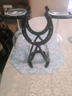 wine bottle and glass horse shoe holder my hubby made