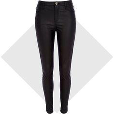 Black leather-look skinny trousers #riverisland #bloggerstyle