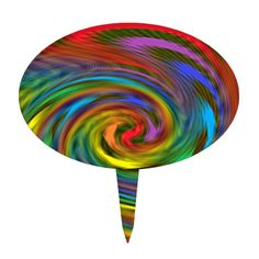 Rainbow Swirl Cake Topper