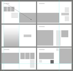 "graphic layout diagram for 6 spreads. Notice: full-bleed vs. border, scale of elements, alignments, text-image relations, and figure-ground relations (as a diagram the individual elements are all represented as rectangle, but you also have the opportunity for certain elements to become more figural and work with the background ""space"" of the page."