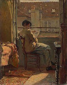 Giovanni Giacometti am Fenster lesend (Paris) - Cuno Amiet