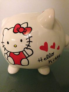 Medium Hello Kitty hand painted piggy bank by SpoonfulOfFreckles, $23.00