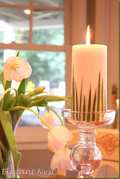 Embellishing Candles with Blades of Real Grass. So Pretty for an Easter Tablesetting