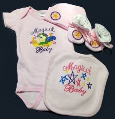 Baby 4 PC. Set Coming Home Outfit Magical Baby Dragon Stars Pentagram Wiccan Pagan Baby Free Shipping Shower Gift Set