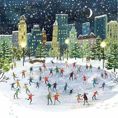 city winter scene at night *NEW* The Art Group 'City Life' Cards - Clair Rossiter illustration Winter Illustration, Christmas Illustration, Illustration Art, Website Illustration, Christmas Art, Winter Christmas, Xmas, Modern Christmas, Christmas Ice Skating